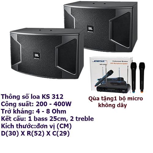 Loa karaoke JBL KS 310 tặng kèm micro không dây